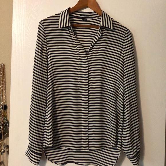 68487dc77fd16c Theory Tops | Beautiful Navywhite Stripe Silk Blouse | Poshmark